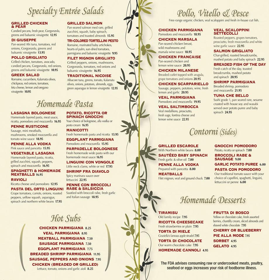 Trattoria menu